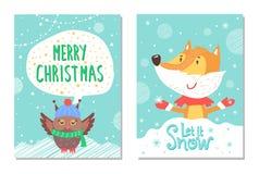 Frohe Weihnacht-Gruß-Karten mit Fox und Eule lizenzfreie abbildung