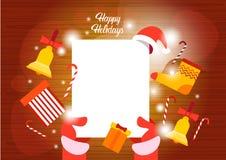 Frohe Weihnacht-guten Rutsch ins Neue Jahr-Wunschliste Santa Claus Hands Empry Paper Sheets lizenzfreie abbildung