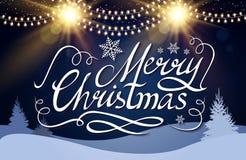 Frohe Weihnacht-kalligraphische Beschriftung mit eleganten Gold-Effekten und Winter Koniferen-Forest Vintage Shining Design Stockfotografie