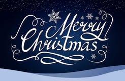 Frohe Weihnacht-kalligraphische Beschriftung mit eleganten Goldeffekten auf blauen Hintergrund Weinlese-glänzendes Design Vektor Lizenzfreie Stockfotos