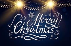 Frohe Weihnacht-kalligraphische Beschriftung mit eleganten Goldeffekten auf blauen Hintergrund Weinlese-glänzendes Design Vektor Stockfotos