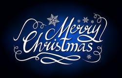 Frohe Weihnacht-kalligraphische Beschriftung mit eleganten Goldeffekten auf blauen Hintergrund Weinlese-glänzendes Design Vektor Stockbilder