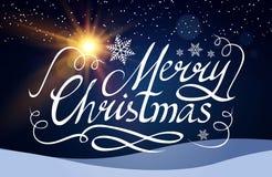 Frohe Weihnacht-kalligraphische Beschriftung mit eleganten Goldeffekten auf blauen Hintergrund Weinlese-glänzendes Design Vektor Stockbild