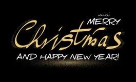 Frohe Weihnacht-kalligraphische Beschriftung mit eleganten Goldeffekten, Weinlese-glänzendes Design Vektor illustraion Stockfotos
