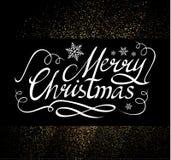 Frohe Weihnacht-kalligraphische Beschriftung mit eleganten Goldeffekten, Weinlese-glänzendes Design Vektor illustraion Stockfoto