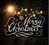 Frohe Weihnacht-kalligraphische Beschriftung mit eleganten Goldeffekten, Weinlese-glänzendes Design Vektor illustraion Lizenzfreie Stockbilder