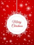 Frohe Weihnacht-Karte Abstrakter Weihnachtsball mit Schneeflocken auf einem roten Hintergrund Lizenzfreie Stockbilder