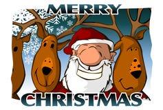 Frohe Weihnacht-Karte (blau) Stockbilder