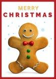 Frohe Weihnacht-Lebkuchen-Mann-Grußlebensmittel; Karte stock abbildung