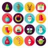 Frohe Weihnacht-neues Jahr-Kreis-Ikonen stellten mit langem Schatten ein Lizenzfreies Stockbild