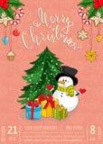 Frohe Weihnacht-Plakat für Urlaubsparty Promo vektor abbildung