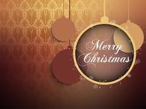 Frohe Weihnacht-Retro- Brown-Hintergrund-Ball lizenzfreie stockfotografie
