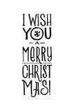 Frohe Weihnacht-Retro- Vektor-Plakat Einfarbiges Schwarzweiss-Design Tinten-Hand gezeichnete Kalligraphie-Schablone für Winter stock abbildung