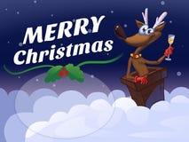 Frohe Weihnacht-Rotwild-Karikatur-Illustration Lizenzfreie Stockfotos
