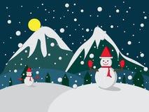 Frohe Weihnacht-Schneemann im Hut- und Handschuhrot auf Winternachthintergrund Vektor stockbild