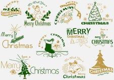 Frohe Weihnacht-Typografie-Satz Lizenzfreie Stockfotos