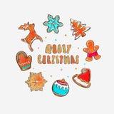 Frohe Weihnacht-und guten Rutsch ins Neue Jahr-Fahne Lebkuchenplätzchenkonzept Verschiedene Winterelemente: Schneeflocken, Lebkuc lizenzfreie abbildung