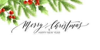 Frohe Weihnacht-und guten Rutsch ins Neue Jahr-Fahnen-Design Lizenzfreie Abbildung