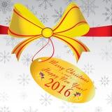 Frohe Weihnacht-und guten Rutsch ins Neue Jahr-Geschenk 2016 auf grauem Hintergrund Stockbilder