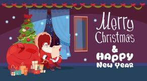 Frohe Weihnacht-und guten Rutsch ins Neue Jahr-Gruß-Karte Santa Reading Gift List Stockfotos