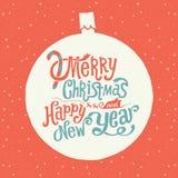 Frohe Weihnacht-und guten Rutsch ins Neue Jahr-Grußkarte, Handlettering-Typografie Stockbilder