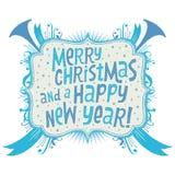 Frohe Weihnacht-und guten Rutsch ins Neue Jahr-Grußkarte mit Handlettering-Typografie Lizenzfreie Stockfotografie