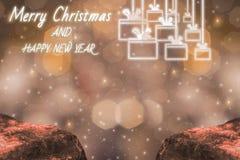 Frohe Weihnacht-und guten Rutsch ins Neue Jahr Helligkeits-Thema des Lichtes, mit funkelndem goldenem bokeh und funkelndem Hinter lizenzfreies stockfoto