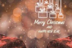 Frohe Weihnacht-und guten Rutsch ins Neue Jahr Helligkeits-Thema des Lichtes, mit funkelndem goldenem bokeh und funkelndem Hinter stockfoto