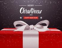 Frohe Weihnacht-und guten Rutsch ins Neue Jahr-Hintergrund-rote Geschenkbox mit weißem Band-Bogen-Feiertags-Gruß-Karten-Design vektor abbildung