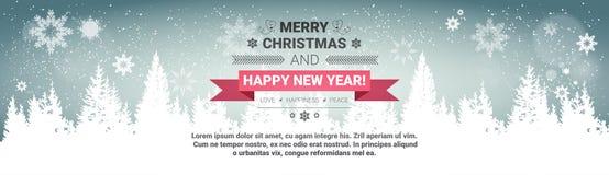 Frohe Weihnacht-und guten Rutsch ins Neue Jahr-Konzept-Winterurlaub-Gruß-Karte über transparentem Forest Background lizenzfreie abbildung