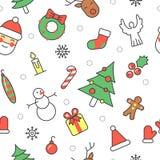 Frohe Weihnacht-und guten Rutsch ins Neue Jahr-nahtloses Muster mit Santa Snowman stock abbildung