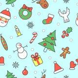 Frohe Weihnacht-und guten Rutsch ins Neue Jahr-nahtloses Muster mit Santa Snowman lizenzfreie abbildung