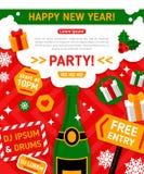 Frohe Weihnacht-und guten Rutsch ins Neue Jahr-Partei Lizenzfreie Stockfotos