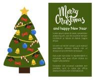 Frohe Weihnacht-und guten Rutsch ins Neue Jahr-Plakat-Baum Stockfotografie