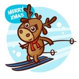 Frohe Weihnacht-und guten Rutsch ins Neue Jahr-Rotwild-Skifahrer lizenzfreie abbildung
