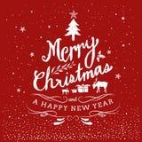 Frohe Weihnacht-und guten Rutsch ins Neue Jahr-Typografie-Hand gezeichnet Stockfotos