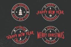 Frohe Weihnacht-und guten Rutsch ins Neue Jahr-Typografiesatz Vektorlogo, Embleme, Textdesign Verwendbar für Fahnen, Grußkarten,  lizenzfreie abbildung