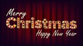 Frohe Weihnacht-und guten Rutsch ins Neue Jahr-Zeichen-Vektor Karneval, Zirkus, Kasino-Art Guss-Festzelt-Licht Plakat, Flieger Stockbild