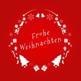 Frohe Weihnacht-Vektor-Text auf Deutsch Vektor EXTREM einzeln aufgeführt Kreative Weihnachtsanlagegut-Dekoration für Feiertags-Gr lizenzfreie abbildung