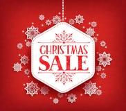 Frohe Weihnacht-Verkauf beim Winter-Schnee-Flocken-Hängen Lizenzfreie Stockfotos