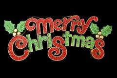 Frohe Weihnacht-Wandbehang-Dekoration lokalisiert auf schwarzem Hintergrund Lizenzfreies Stockbild