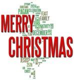Frohe Weihnacht-Wort-Wolke Stockbild