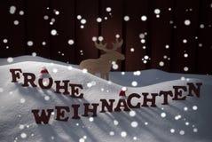 Frohe Weihnachten значит с Рождеством Христовым лосей Стоковая Фотография