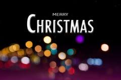 Frohe Weihnachten auf abstraktes bokeh defocused Hintergrund, Feiertag Stockfoto