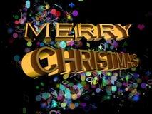 Frohe Weihnachten auf Englisch auf einem schwarzen Hintergrund und mehrfachen Farbdekorationen lizenzfreie abbildung