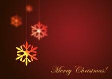Frohe Weihnachten auf rotem Hintergrund Stockfotos