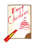 Frohe Weihnachten, Aufschriftlippenstift, Notizbuch Lizenzfreie Stockfotos