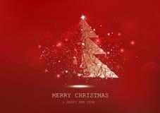 Frohe Weihnachten, Baumpolygon, Konfetti, goldene glühende Partikel zerstreuen, Plakat, Saisonfeiertag des Postkartenroten Luxush lizenzfreie abbildung