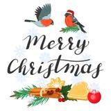 Frohe Weihnachten Beschriften mit Dompfaffen und einem Fichtenzweig vektor abbildung