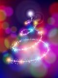 Frohe Weihnachten bokeh Hintergrund-Sternkiefer Lizenzfreie Stockbilder